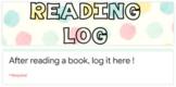 Reading Log - EDITABLE Google Form