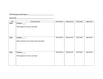Reading Log [Editable and Ready to Print]