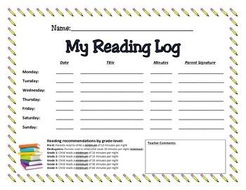 Reading Log - Elementary School
