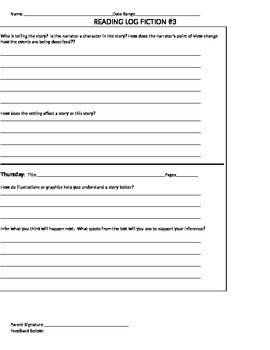 Reading Log-Fiction #3 Questions to respond while reading