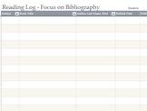 Reading Log - Focus on Bibliography