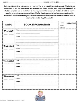 Reading Log For Elementary School Students