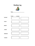 Reading Log For Young Readers