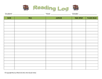 Reading Log Form