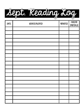Reading Log Forms