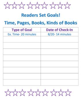 Reading Log, Goals, and  Stamina Charts