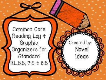 Literature Standards Based Graphic Organizers & Log for RL.6.6, 7.6 & 8.6