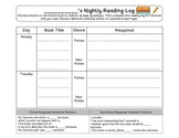 Reading Log HW with Written Response
