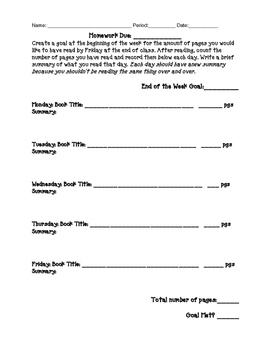 Reading Log Homework - Goal Setting