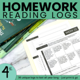 Homework Reading Log | Editable Reading Log | Fourth Grade