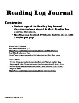 Reading Log Journal Directions and Rubric