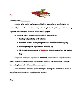 Reading Log Letter home to parents
