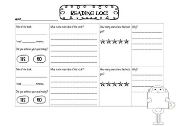 Reading Log Monday-Thursday: Record minutes read, summary and a book evaluation.