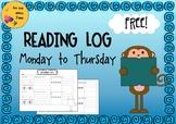 Reading Log Monday-Thursday: Record minutes read, summary