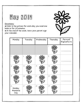 Reading Log (Monday through Thursday)