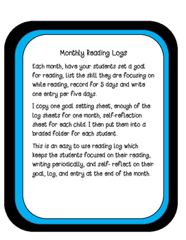 Reading Logs- Goal Setting- Monthly Themed