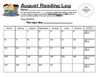 Reading Log Monthly Calendars 2017 - 2018