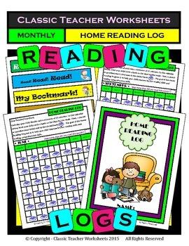 Reading Log Monthly Templates: Bookworm Reading Log - Bonus: Free Bookmarks!!!