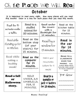 Reading Log - Motivation - Homework OCTOBER