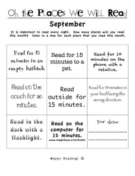 Reading Log - Motivation - Homework SEPTEMBER