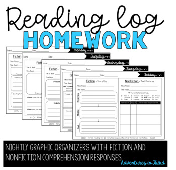 Reading Log Organizers for Homework