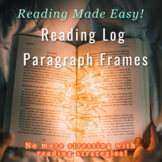 Reading Log Paragraph Frames Based on Reading Strategies B