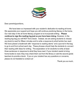 Reading Log Parent Letter
