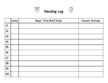 Reading Log - Perfect for Homework