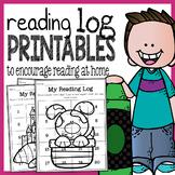 Reading Log Printables for Preschool and Kindergarten