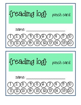 Reading Log Punch Cards