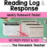 Reading Log & Reading Log Response –  Weekly Homework Packet