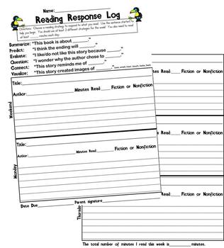 Reading Log - Reading Strategies Sentence Starters for Kids-FREEBIE