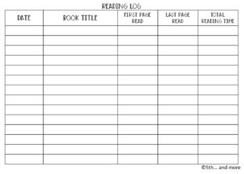 Reading Log/Reading Tracker (Horizontal Format)