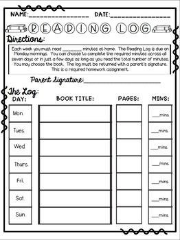 Reading Log/ Reading Tracker and Response