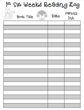 FREE Reading Log Recording Sheets