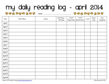 Reading Log & Rubric - April and May