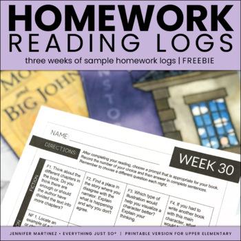 Reading Log SAMPLE | Homework Reading Log |  Third | Fourth | Fifth