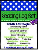 Reading Log Set: 13 Reading Strategies & Skills- summarize, infer, predict,...