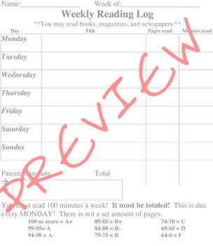 Reading Log Sheet - 100 Minutes