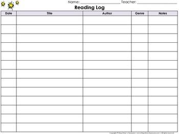 Reading Log: Student Reading Log - Landscape #1 - King Vir