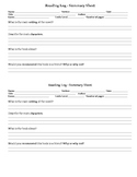 Reading Log & Summary Sheet - Summary Sheet FREE!