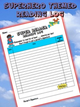 Reading Log - Superhero Theme