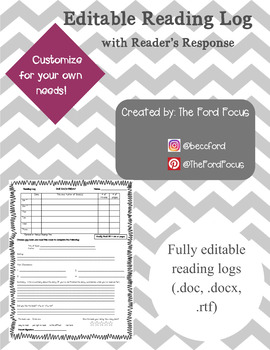 Reading Log with Reader's Response--{EDITABLE}