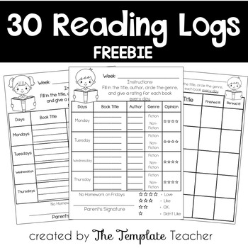 Reading Logs For Homework Freebie By The Template Teacher Tpt