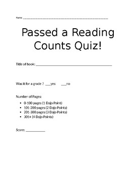 Reading Log Turn in Sheet- For use with Reading Counts and Class Dojo