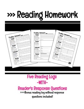 Reading Log Homework: Reader's Response/Comprehension Questions (BONUS time log)