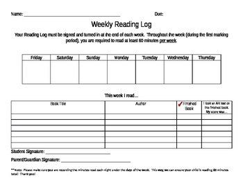 Reading Log (Weekly)