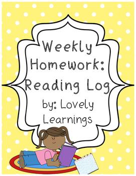 Reading Log Weekly Homework Sheet