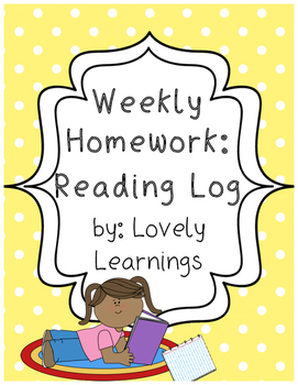Reading Log Weekly Homework Sheet