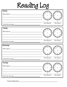Reading Log With Clocks
